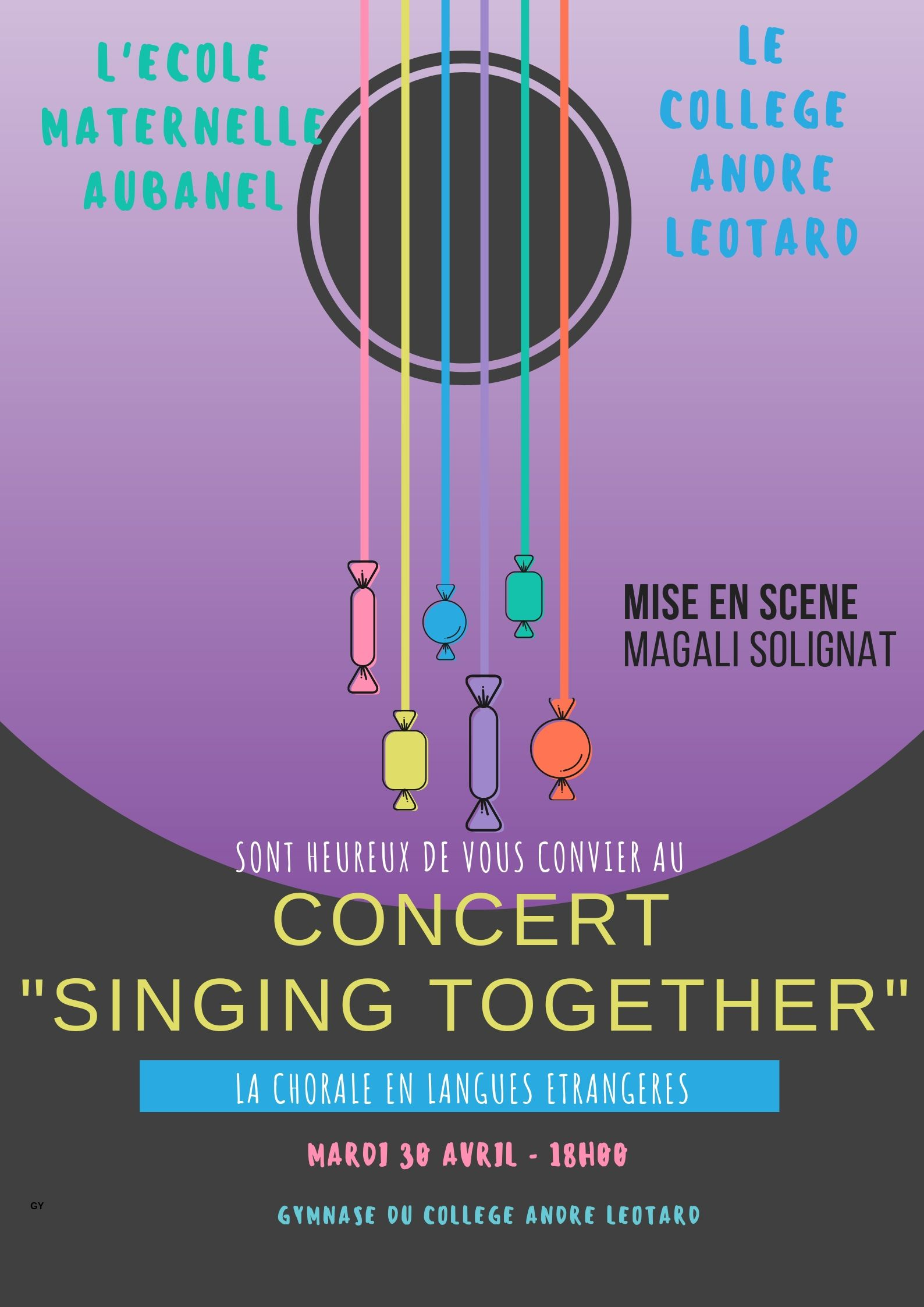 Concert «Singing together» du 30 avril! Un grand bravo aux élèves de la maternelle Aubanel et du Collège André Léotard!